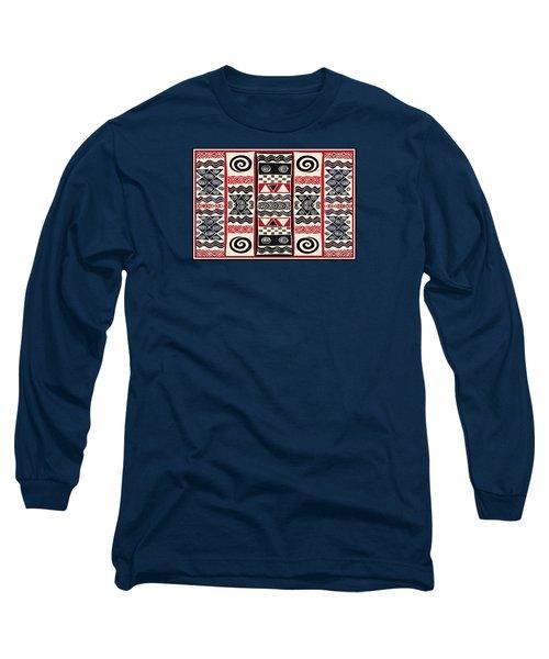 African Tribal Ritual Design Long Sleeve T-Shirt by Vagabond Folk Art - Virginia Vivier