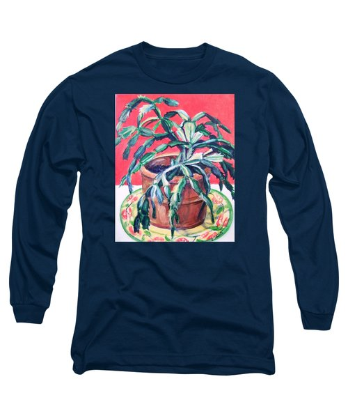 Long Sleeve T-Shirt featuring the painting Christmas Cactus by Laura Aceto