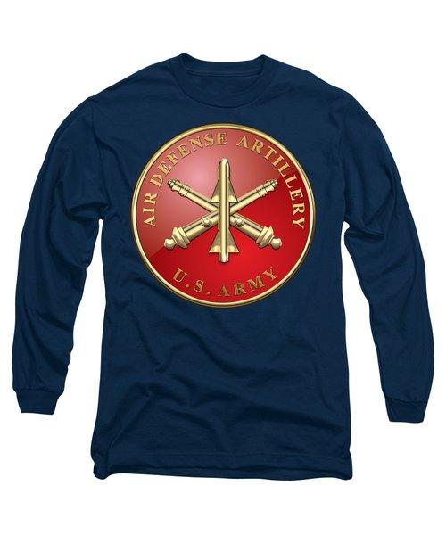 Air Defense Artillery - Ada Branch Insignia Over Blue Velvet Long Sleeve T-Shirt
