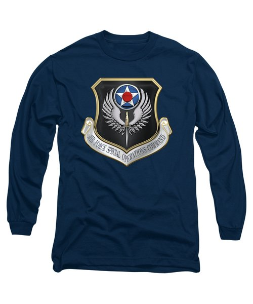 Air Force Special Operations Command -  A F S O C  Shield Over Blue Velvet Long Sleeve T-Shirt by Serge Averbukh
