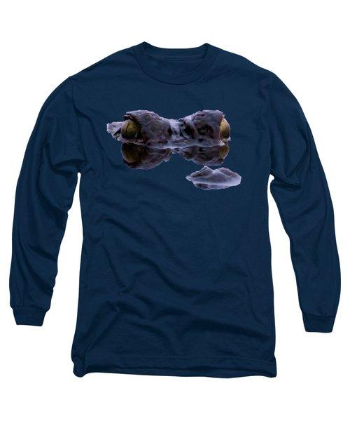 Alligator Eyes On The Foggy Lake Long Sleeve T-Shirt by Zina Stromberg