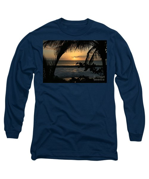 Aloha Aina The Beloved Land - Sunset Kamaole Beach Kihei Maui Hawaii Long Sleeve T-Shirt by Sharon Mau