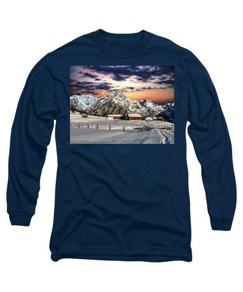 Alpine Winter Scene Long Sleeve T-Shirt