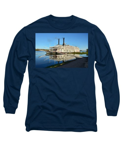 American Queen Steamboat Reflections On The Mississippi River Long Sleeve T-Shirt by David Lawson