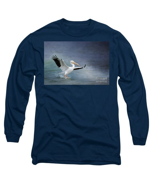 American White Pelican  Long Sleeve T-Shirt by Bonnie Barry