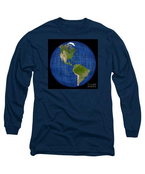 Americas On A Globe The Western Hemisphere Long Sleeve T-Shirt