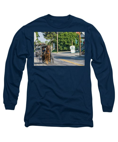 Long Sleeve T-Shirt featuring the photograph Amish Girl On The Road by Patricia Hofmeester