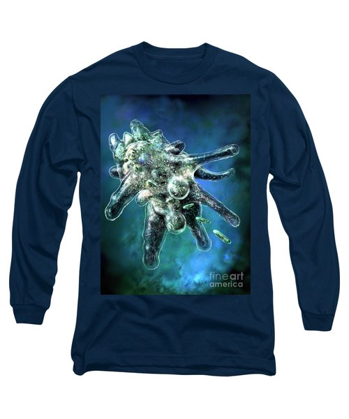 Long Sleeve T-Shirt featuring the digital art Amoeba Blue by Russell Kightley