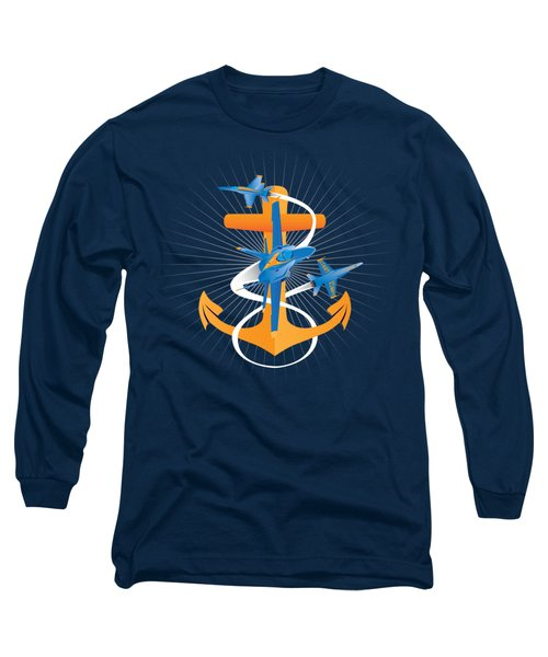Anchors Aweigh Blue Angels Fouled Anchor Long Sleeve T-Shirt