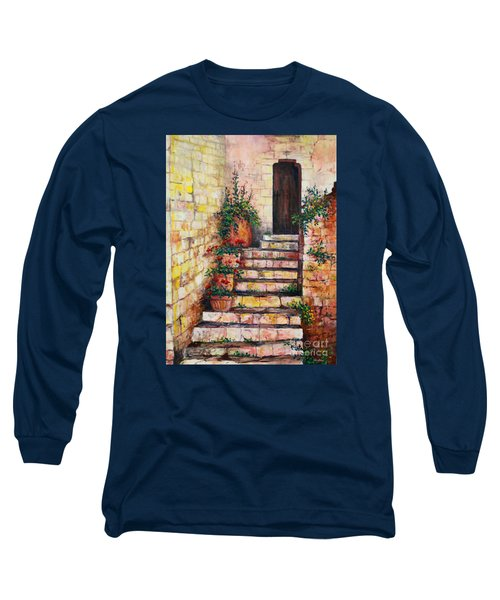 Ancient Stairway Long Sleeve T-Shirt by Lou Ann Bagnall