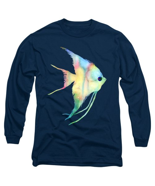 Angelfish I - Solid Background Long Sleeve T-Shirt by Hailey E Herrera