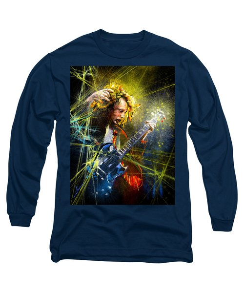 Angus Young Long Sleeve T-Shirt by Miki De Goodaboom
