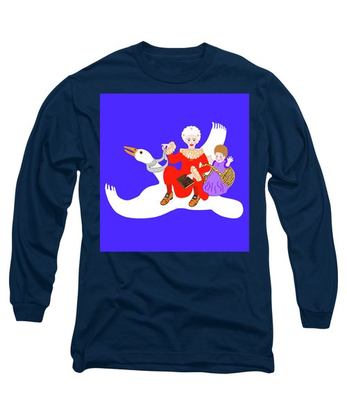 Long Sleeve T-Shirt featuring the painting Mother Goose On Her Flying Goose by Marian Cates