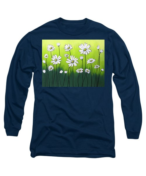 Long Sleeve T-Shirt featuring the painting Daisy Crazy by Teresa Wing