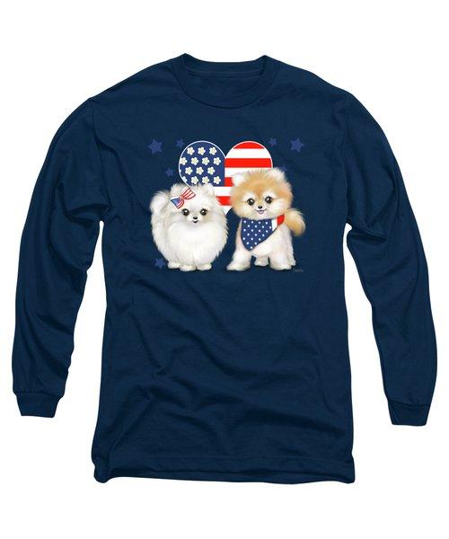 Patriotic Pomeranians Long Sleeve T-Shirt
