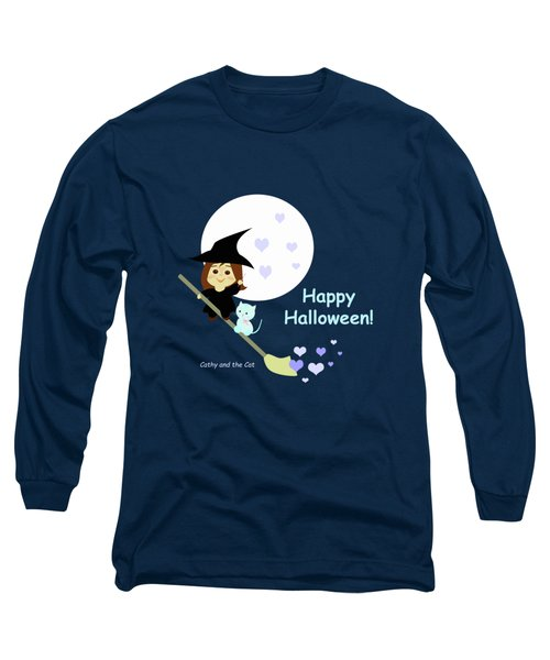 Cathy And The Cat Enjoy Halloween Long Sleeve T-Shirt
