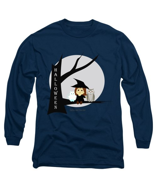 Cathy And The Cat Enjoy Halloween #2 Long Sleeve T-Shirt