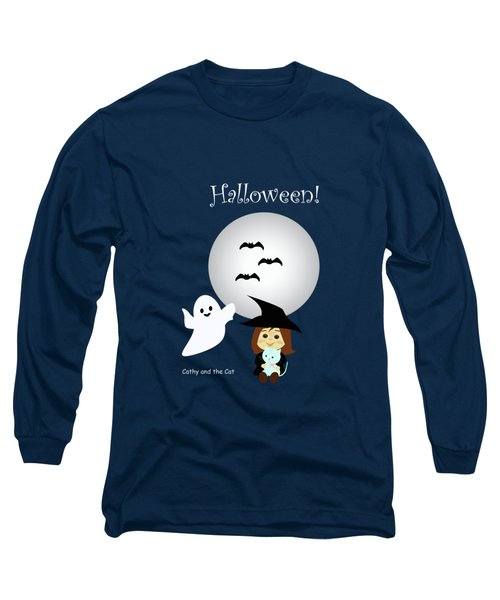 Cathy And The Cat Enjoy Halloween #4 Long Sleeve T-Shirt