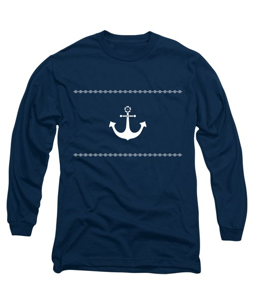 Anchor With Knot Border In White Long Sleeve T-Shirt