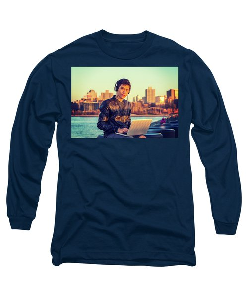 Asian American College Student Traveling, Studying In New York Long Sleeve T-Shirt