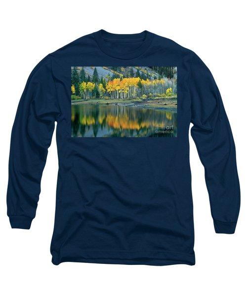 Aspens In Fall Color Along Lundy Lake Eastern Sierras California Long Sleeve T-Shirt