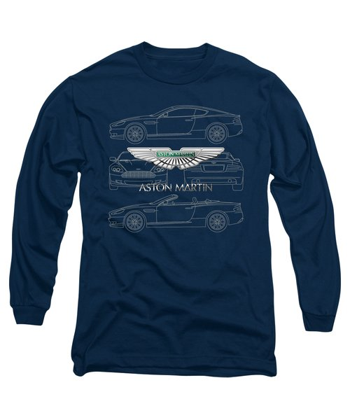 Aston Martin 3 D Badge Over Aston Martin D B 9 Blueprint Long Sleeve T-Shirt