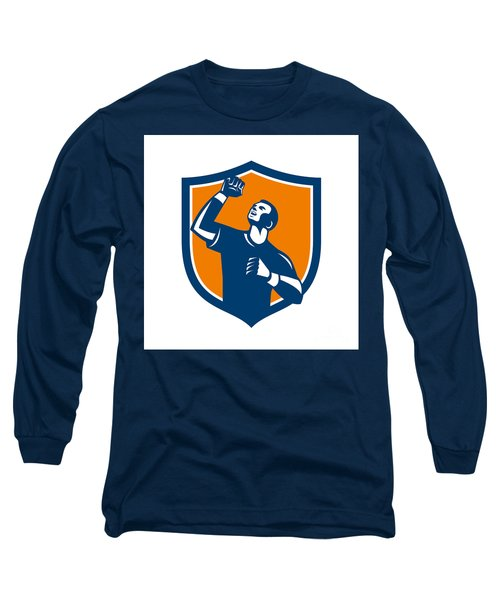 Athlete Fist Pump Crest Retro Long Sleeve T-Shirt