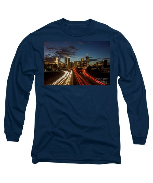 Long Sleeve T-Shirt featuring the photograph Atlanta Downtown Infusion Atlanta Sunset Cityscapes Art by Reid Callaway