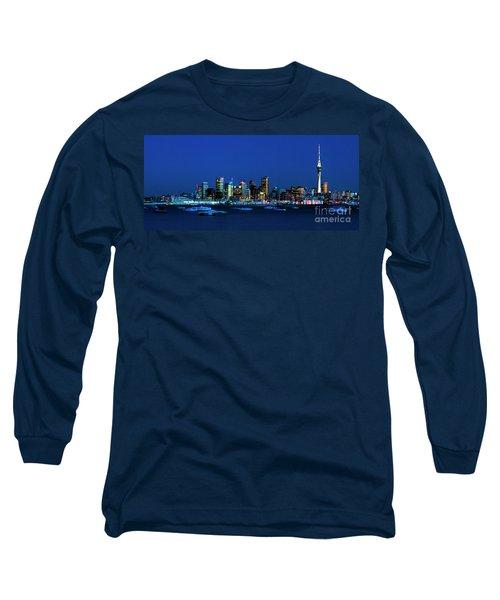 Auckland City Night Lights Long Sleeve T-Shirt by Karen Lewis