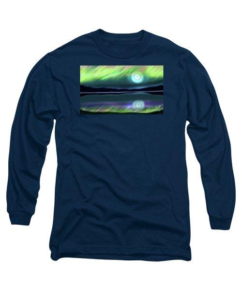 Aurora Moon Lake Long Sleeve T-Shirt by Patricia L Davidson