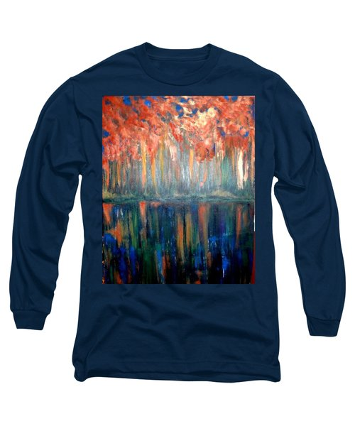 Long Sleeve T-Shirt featuring the painting Autumn Reflections by Rae Chichilnitsky