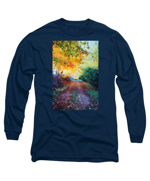 Long Sleeve T-Shirt featuring the photograph Autumn Road by Diane Alexander