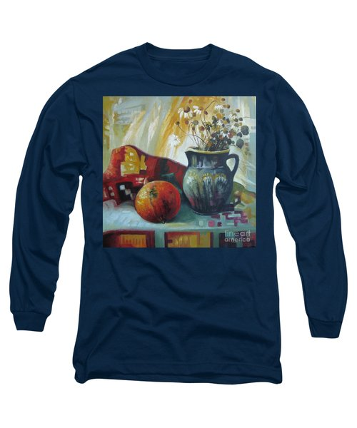 Long Sleeve T-Shirt featuring the painting Autumn Story by Elena Oleniuc