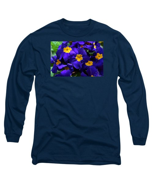 Long Sleeve T-Shirt featuring the photograph Azure Primrose by Michiale Schneider