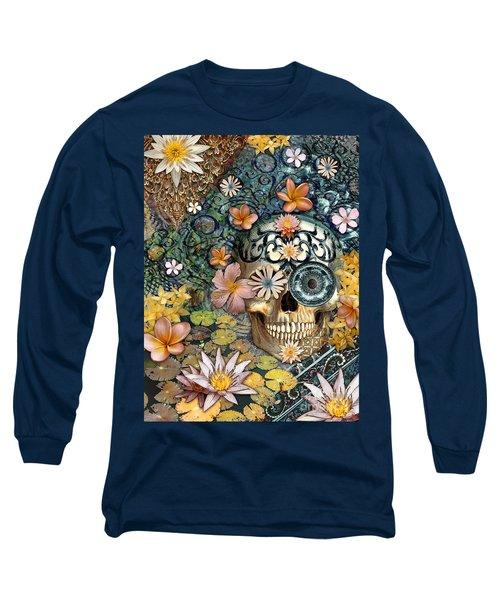 Bali Botaniskull - Floral Sugar Skull Art Long Sleeve T-Shirt by Christopher Beikmann