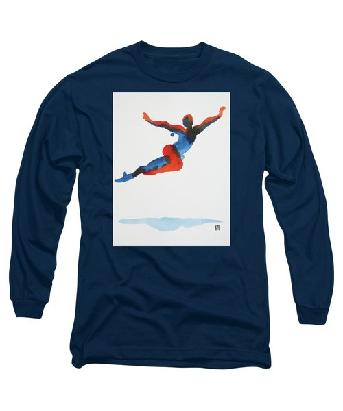 Long Sleeve T-Shirt featuring the painting Ballet Dancer 1 Flying by Shungaboy X