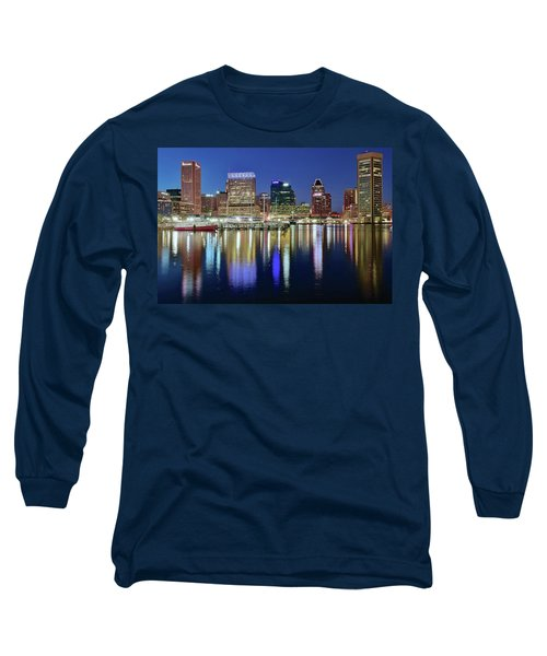 Baltimore Blue Hour Long Sleeve T-Shirt by Frozen in Time Fine Art Photography