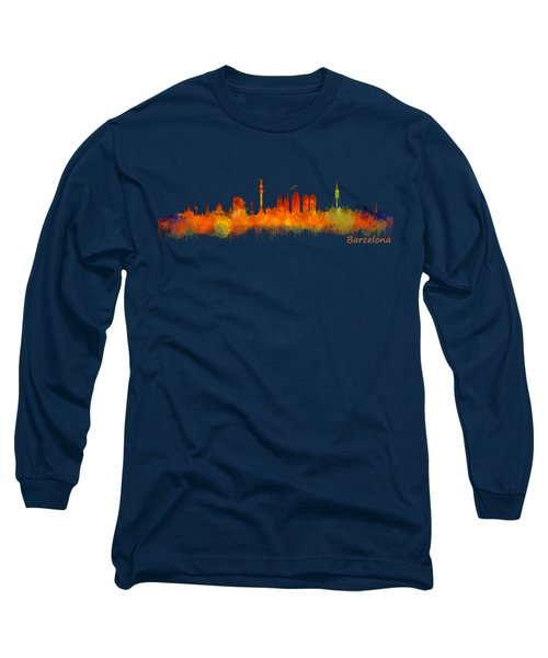 Barcelona City Skyline Hq V2 Long Sleeve T-Shirt