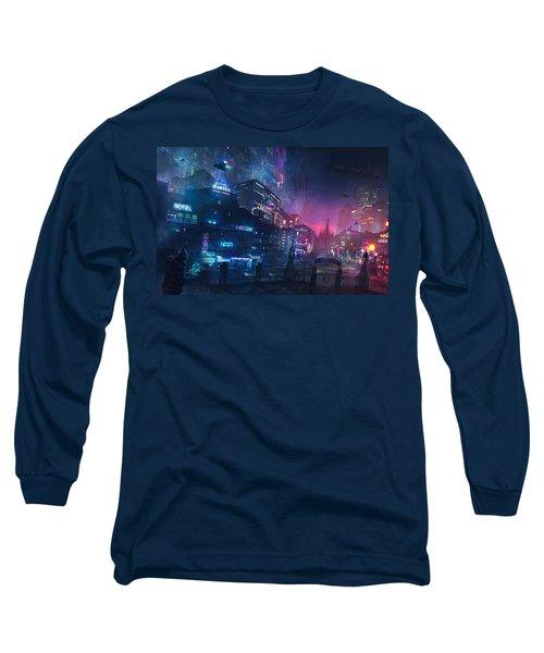 Barcelona Smoke And Neons Sant Pau I La Sagrada Familia Long Sleeve T-Shirt