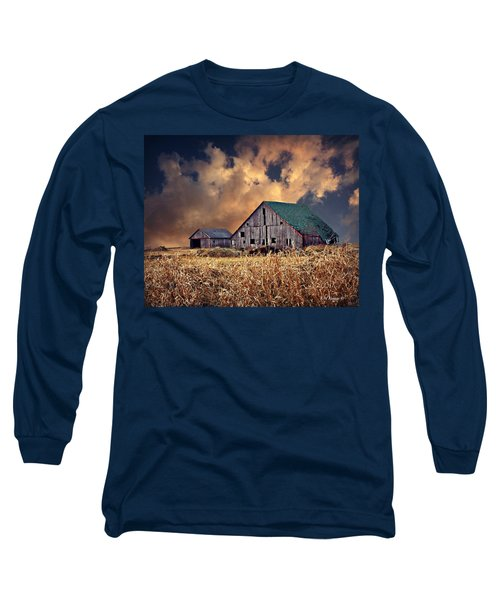 Barn Surrounded With Beauty Long Sleeve T-Shirt by Kathy M Krause