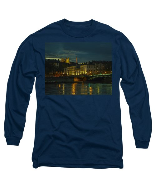 Long Sleeve T-Shirt featuring the photograph Basilica Notre Dame De Fourviere From Across The Rhone River by Allen Sheffield