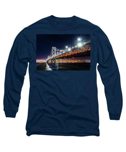 Bay Bridge And San Francisco By Night 5 Long Sleeve T-Shirt
