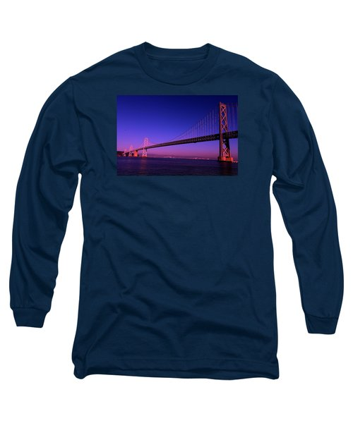 Bay Bridge Sunset Long Sleeve T-Shirt by Linda Edgecomb