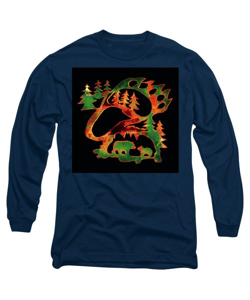Emerald Bear Paw  Long Sleeve T-Shirt by Larry Campbell