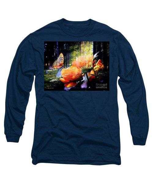 Beautiful Butterfly And Flowers In Forest Long Sleeve T-Shirt by Annie Zeno