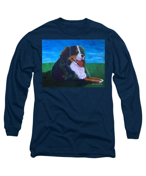 Long Sleeve T-Shirt featuring the painting Bernese Mtn Dog Resting On The Grass by Donald J Ryker III