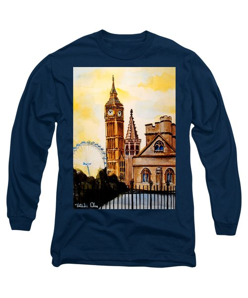 Big Ben And London Eye - Art By Dora Hathazi Mendes Long Sleeve T-Shirt by Dora Hathazi Mendes