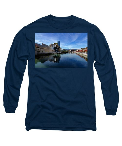 Bilbao In Autumn With Blue Skies Next To The River Nervion Long Sleeve T-Shirt