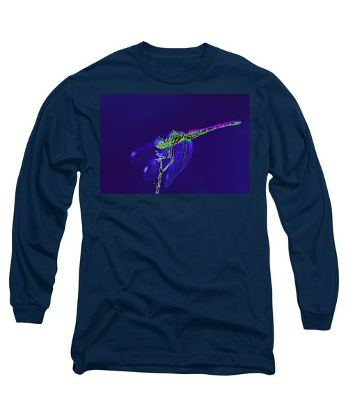 Bioluminescent Dragonfly Long Sleeve T-Shirt by Richard Patmore