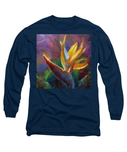 Long Sleeve T-Shirt featuring the painting Bird Of Paradise - Tropical Hawaiian Flowers by Karen Whitworth